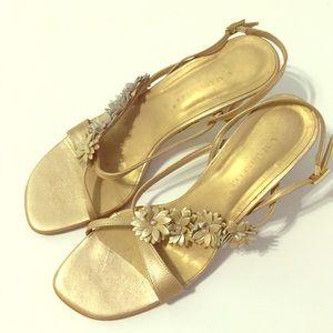 A. Marinelli Floral Embellished Gold sandals 8 M